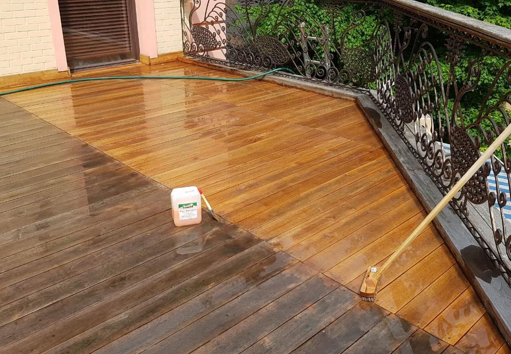 Обновление террасы и нанесение масла для дерева